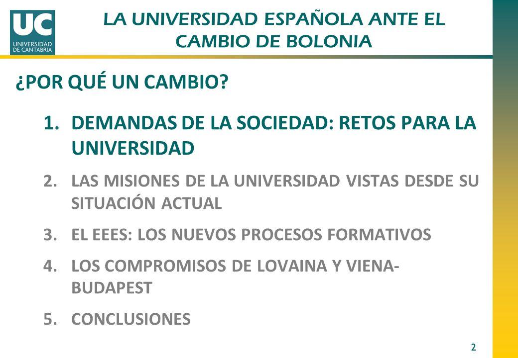 LA UNIVERSIDAD ESPAÑOLA ANTE EL CAMBIO DE BOLONIA