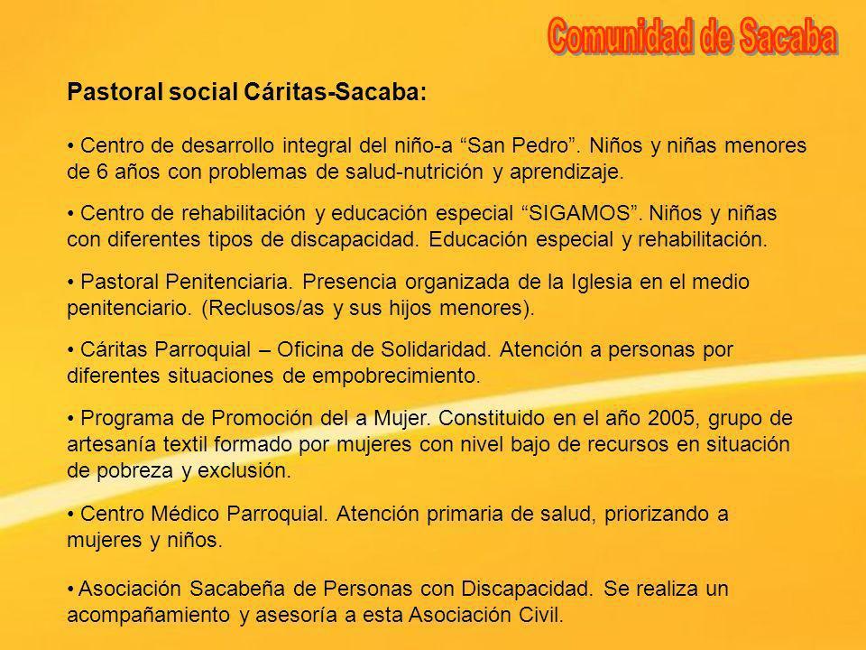 Comunidad de Sacaba Pastoral social Cáritas-Sacaba:
