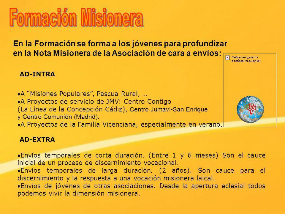 Formación Misionera En la Formación se forma a los jóvenes para profundizar en la Nota Misionera de la Asociación de cara a envíos: