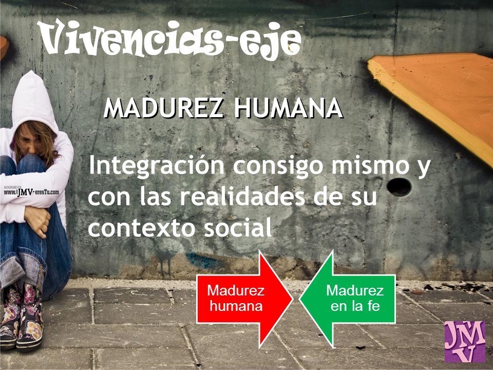 Vivencias-eje MADUREZ HUMANA. Integración consigo mismo y con las realidades de su contexto social.