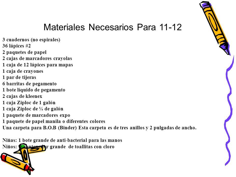 Materiales Necesarios Para 11-12