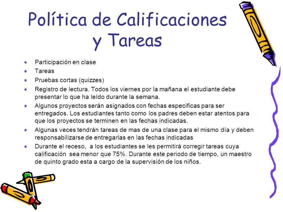 Política de Calificaciones y Tareas