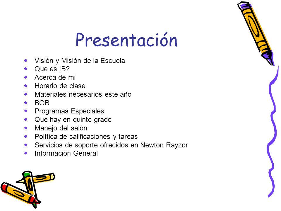 Presentación Visión y Misión de la Escuela Que es IB Acerca de mi