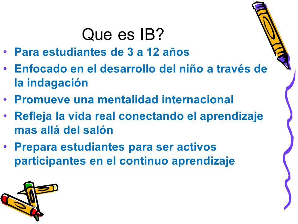Que es IB Para estudiantes de 3 a 12 años
