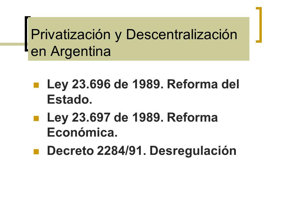 Privatización y Descentralización en Argentina