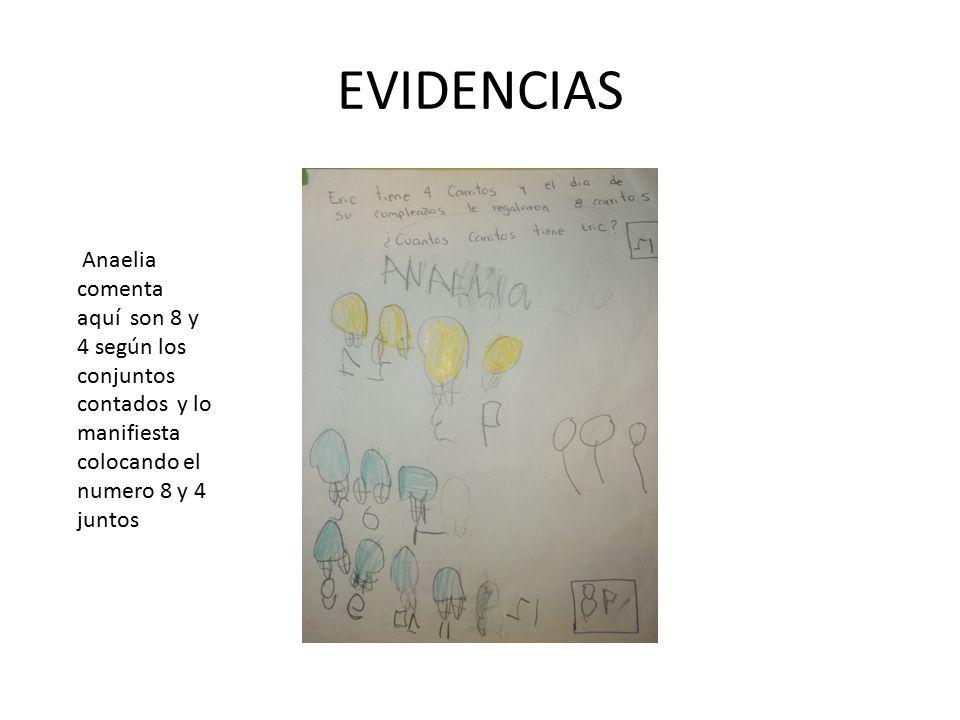 EVIDENCIAS Anaelia comenta aquí son 8 y 4 según los conjuntos contados y lo manifiesta colocando el numero 8 y 4 juntos.