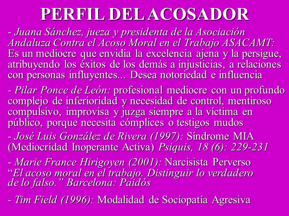PERFIL DEL ACOSADOR - Juana Sánchez, jueza y presidenta de la Asociación. Andaluza Contra el Acoso Moral en el Trabajo ASACAMT: