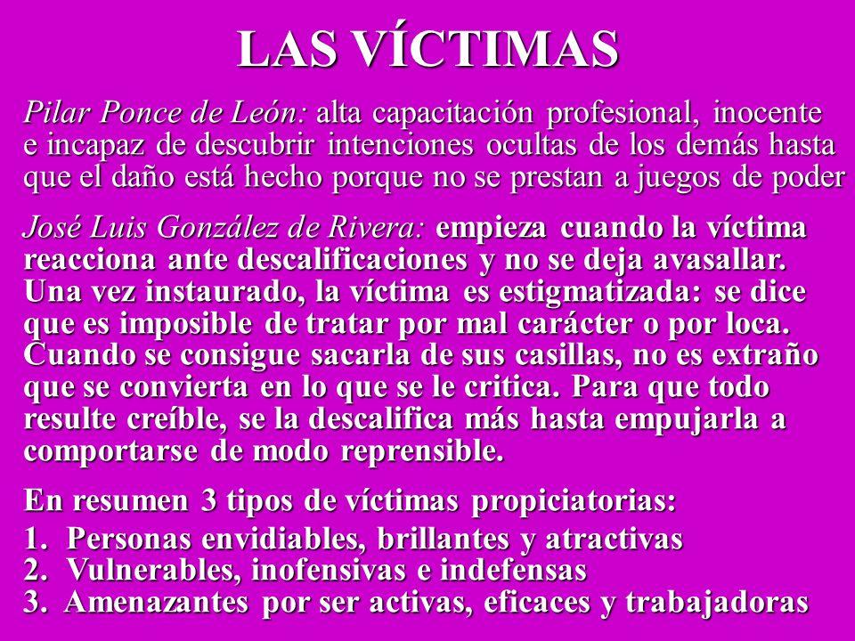 LAS VÍCTIMAS Pilar Ponce de León: alta capacitación profesional, inocente. e incapaz de descubrir intenciones ocultas de los demás hasta.