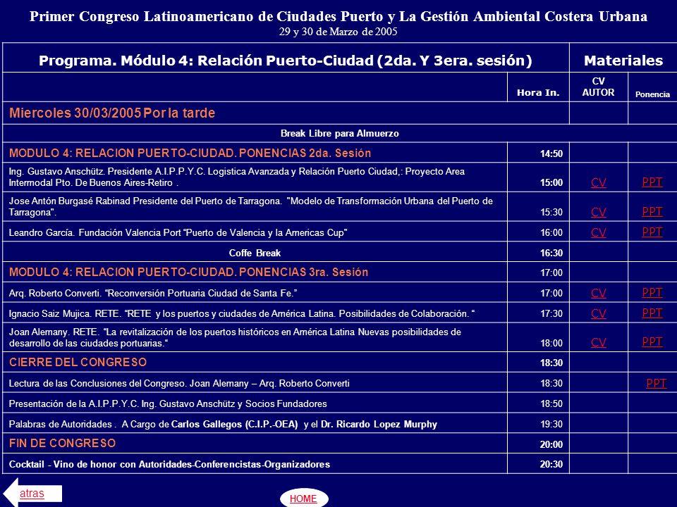 Primer Congreso Latinoamericano de Ciudades Puerto y La Gestión Ambiental Costera Urbana