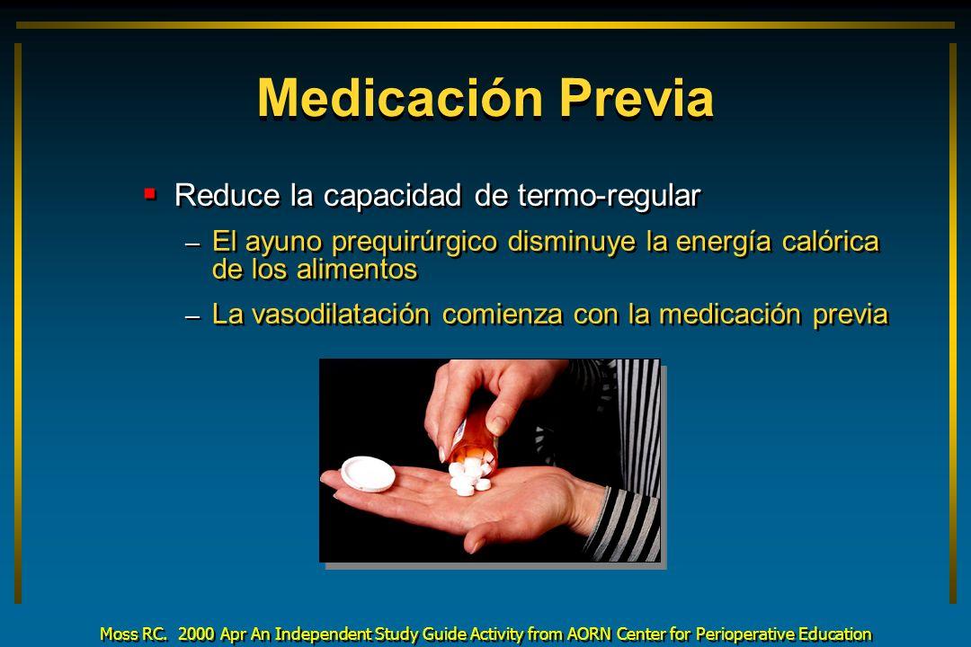 Medicación Previa Reduce la capacidad de termo-regular