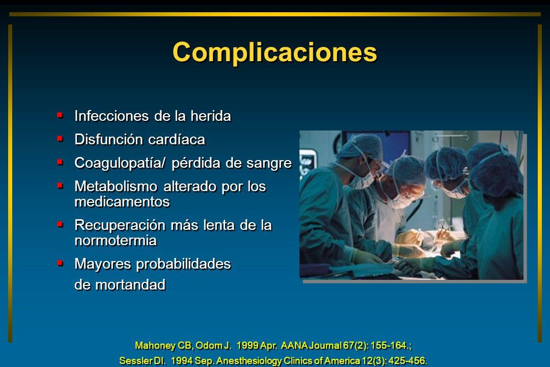 Complicaciones Infecciones de la herida Disfunción cardíaca