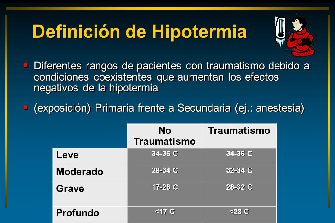 Definición de Hipotermia