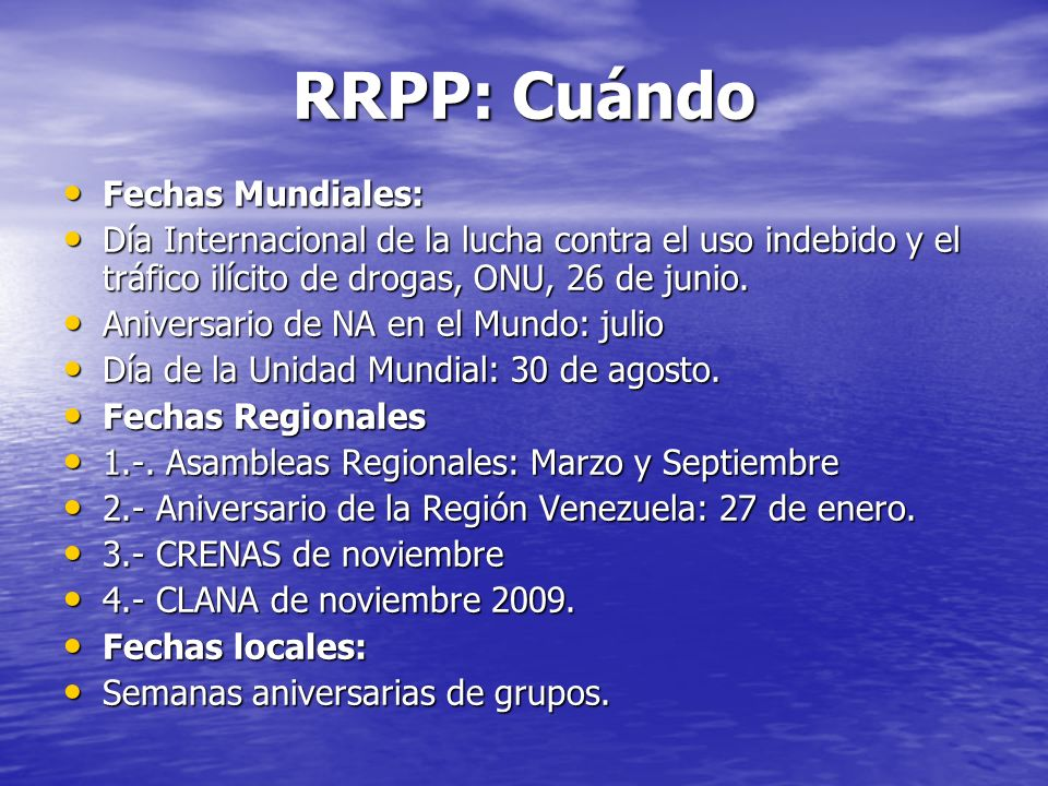 RRPP: Cuándo Fechas Mundiales: