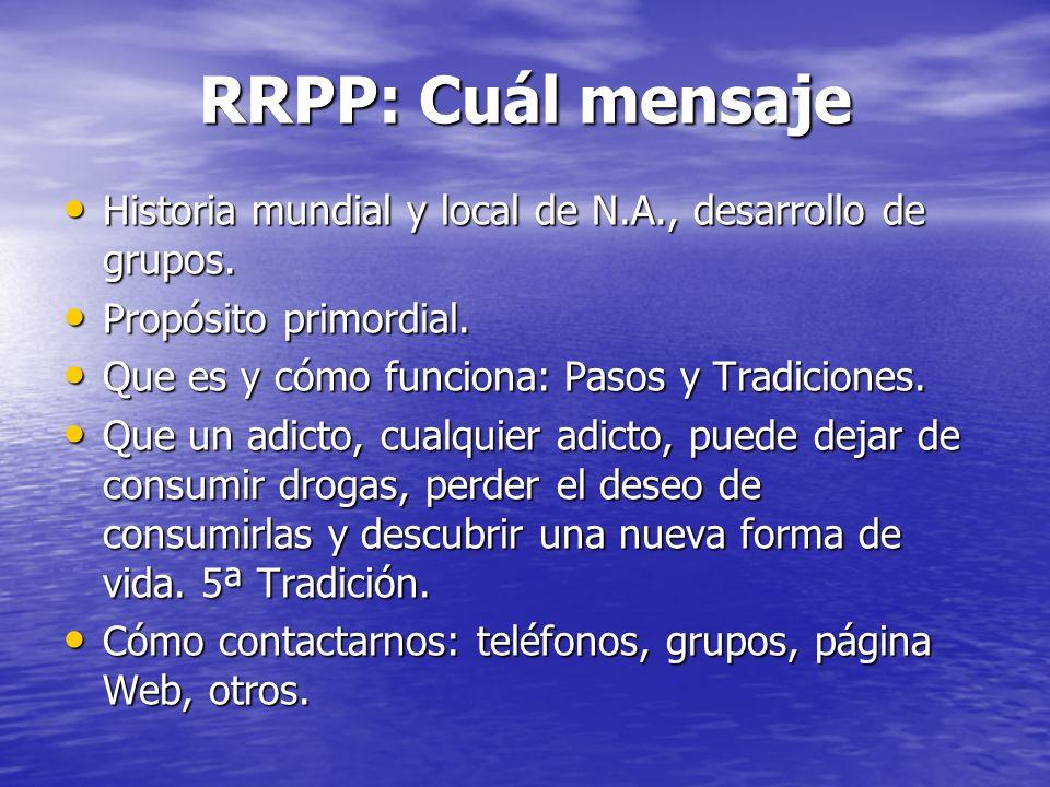 RRPP: Cuál mensaje Historia mundial y local de N.A., desarrollo de grupos. Propósito primordial. Que es y cómo funciona: Pasos y Tradiciones.