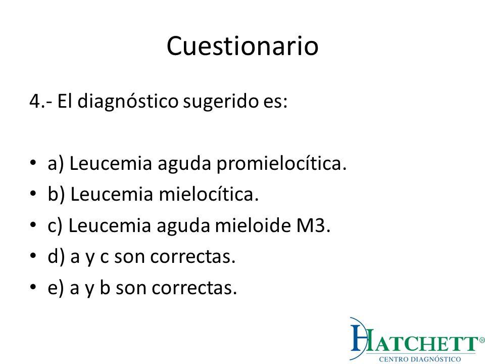 Cuestionario 4.- El diagnóstico sugerido es: