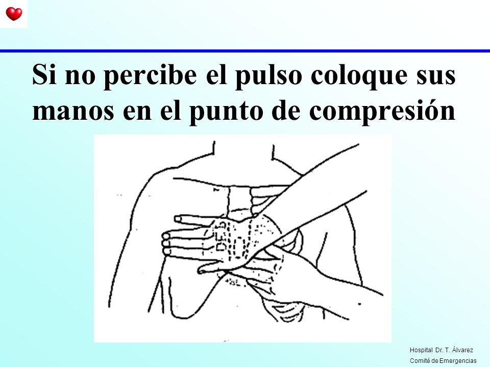 Si no percibe el pulso coloque sus manos en el punto de compresión