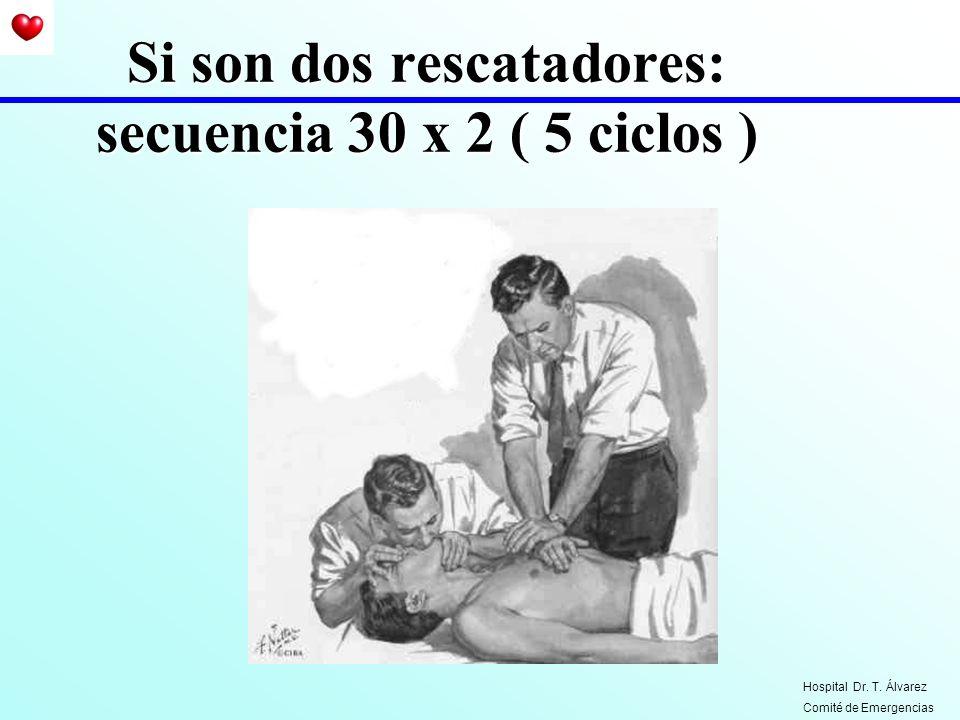Si son dos rescatadores: secuencia 30 x 2 ( 5 ciclos )