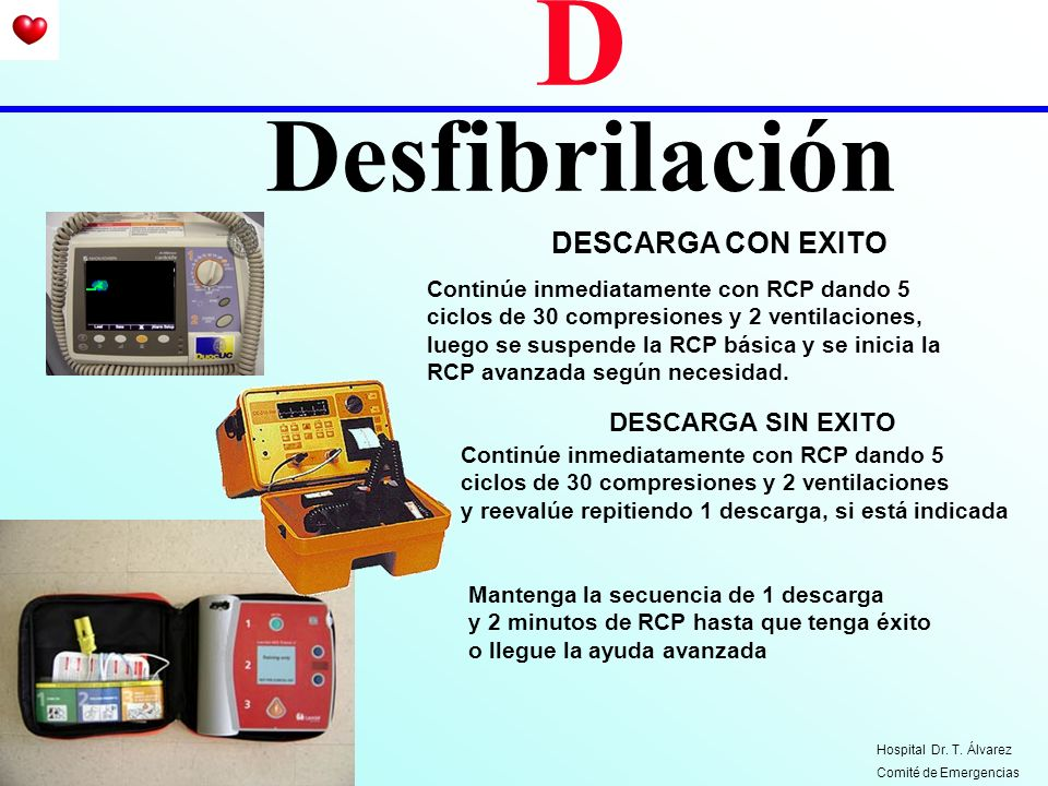 D Desfibrilación DESCARGA CON EXITO DESCARGA SIN EXITO