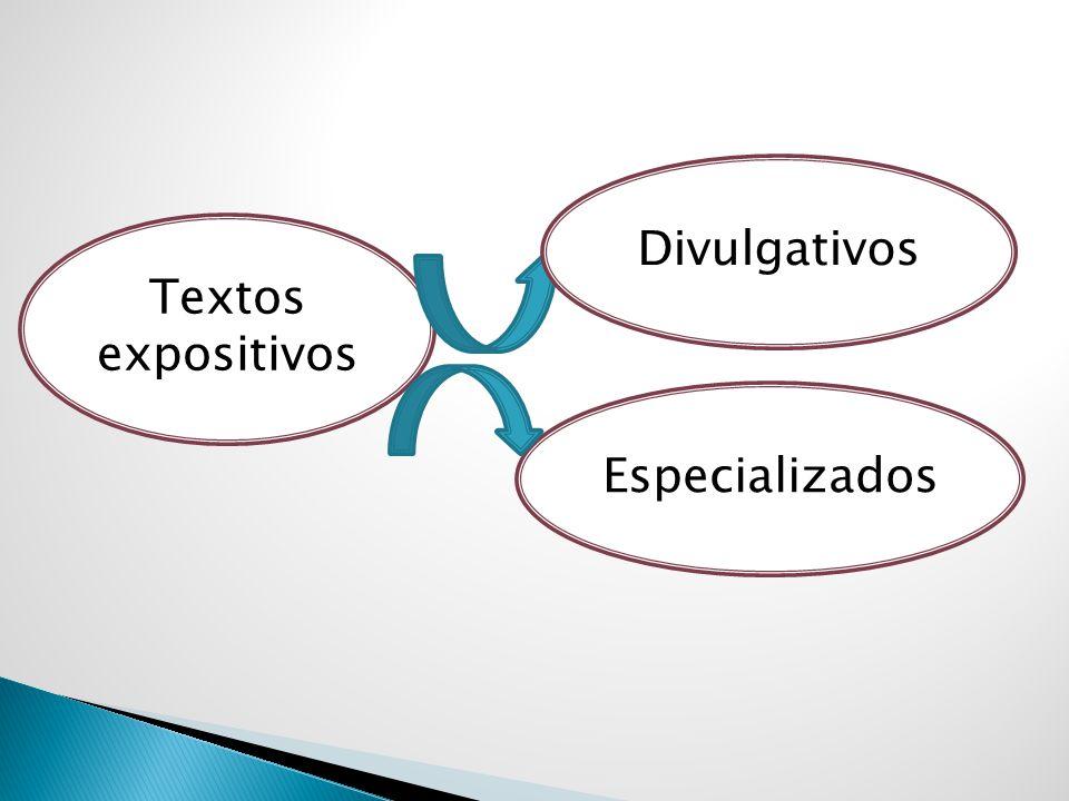 Divulgativos Textos expositivos Especializados