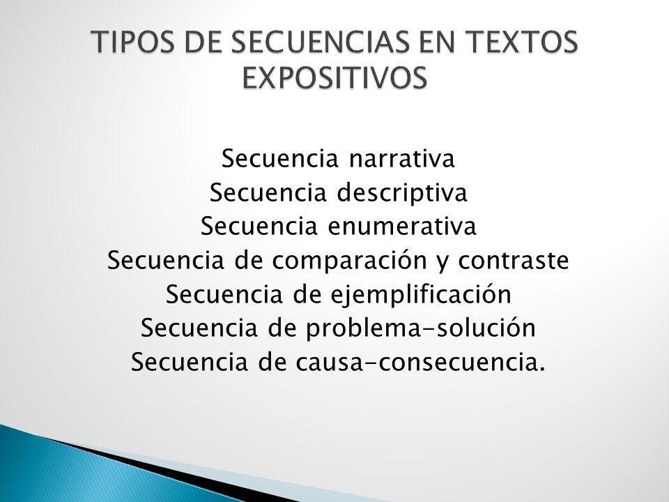 TIPOS DE SECUENCIAS EN TEXTOS EXPOSITIVOS