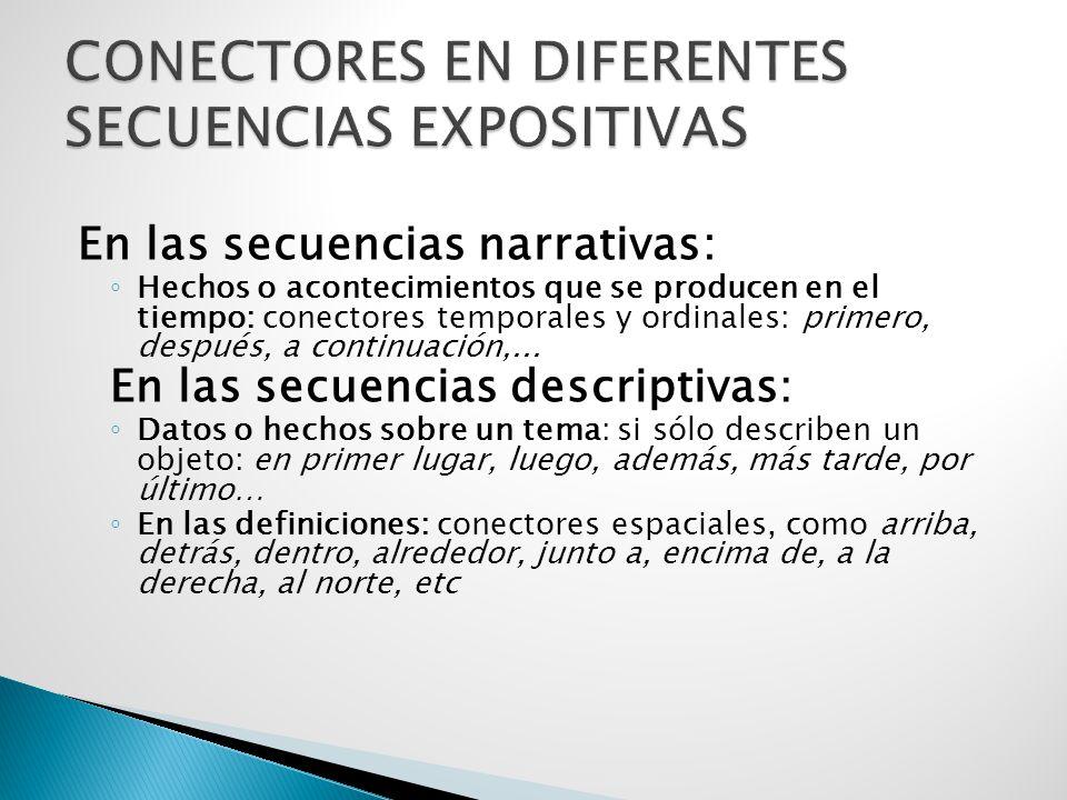 CONECTORES EN DIFERENTES SECUENCIAS EXPOSITIVAS
