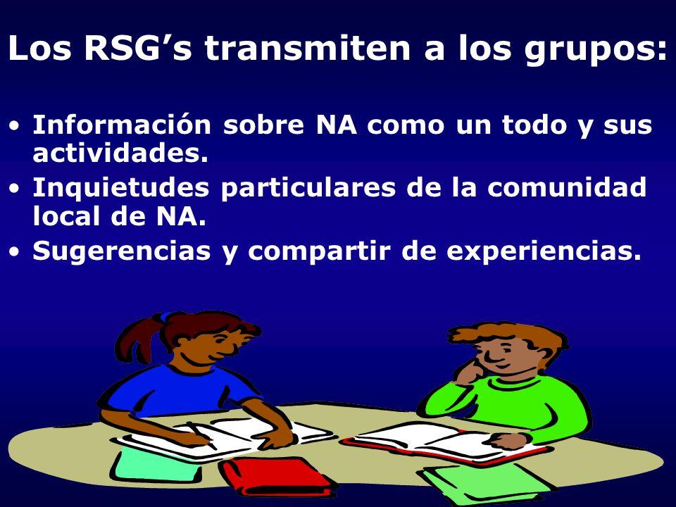 Los RSG's transmiten a los grupos: