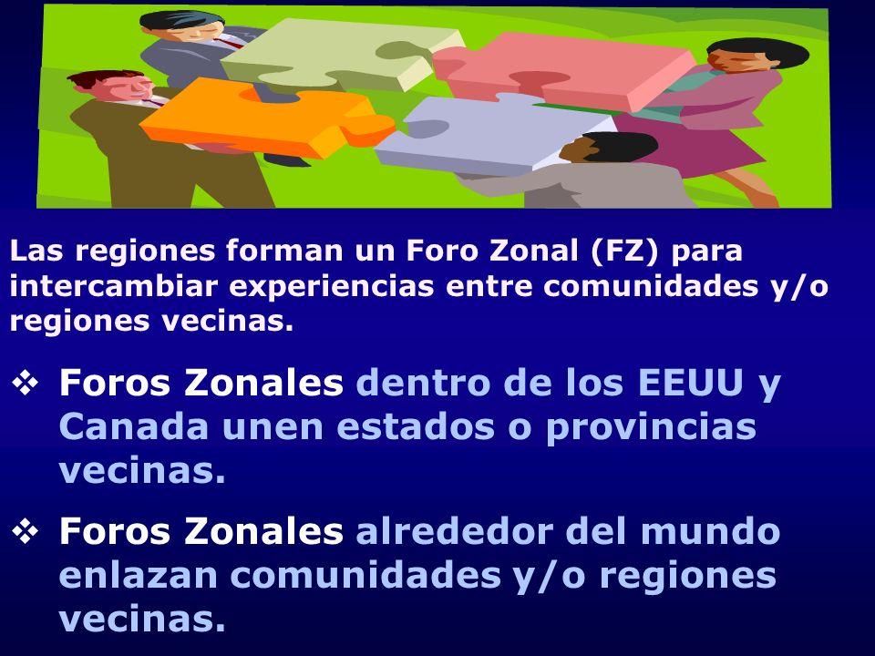 Las regiones forman un Foro Zonal (FZ) para