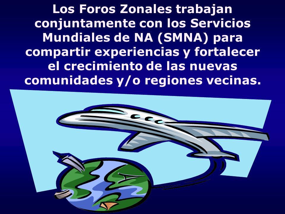 Los Foros Zonales trabajan conjuntamente con los Servicios Mundiales de NA (SMNA) para compartir experiencias y fortalecer el crecimiento de las nuevas comunidades y/o regiones vecinas.