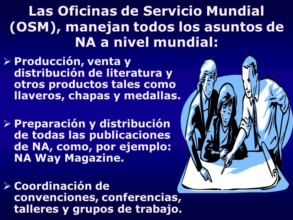 Las Oficinas de Servicio Mundial (OSM), manejan todos los asuntos de NA a nivel mundial: