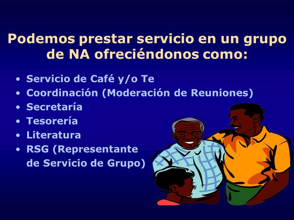 Podemos prestar servicio en un grupo de NA ofreciéndonos como: