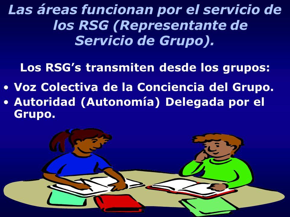 Las áreas funcionan por el servicio de los RSG (Representante de