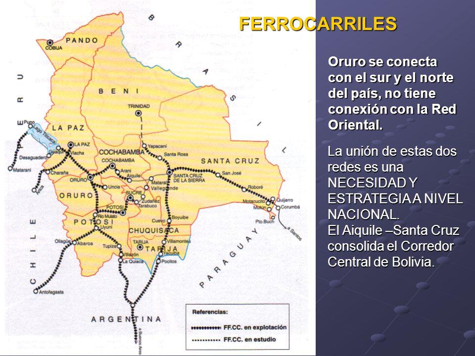 FERROCARRILES Oruro se conecta con el sur y el norte del país, no tiene conexión con la Red Oriental.