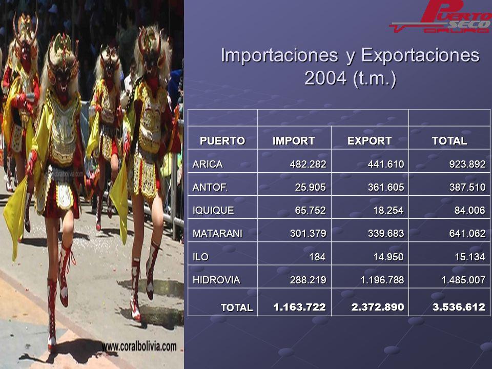 Importaciones y Exportaciones 2004 (t.m.)
