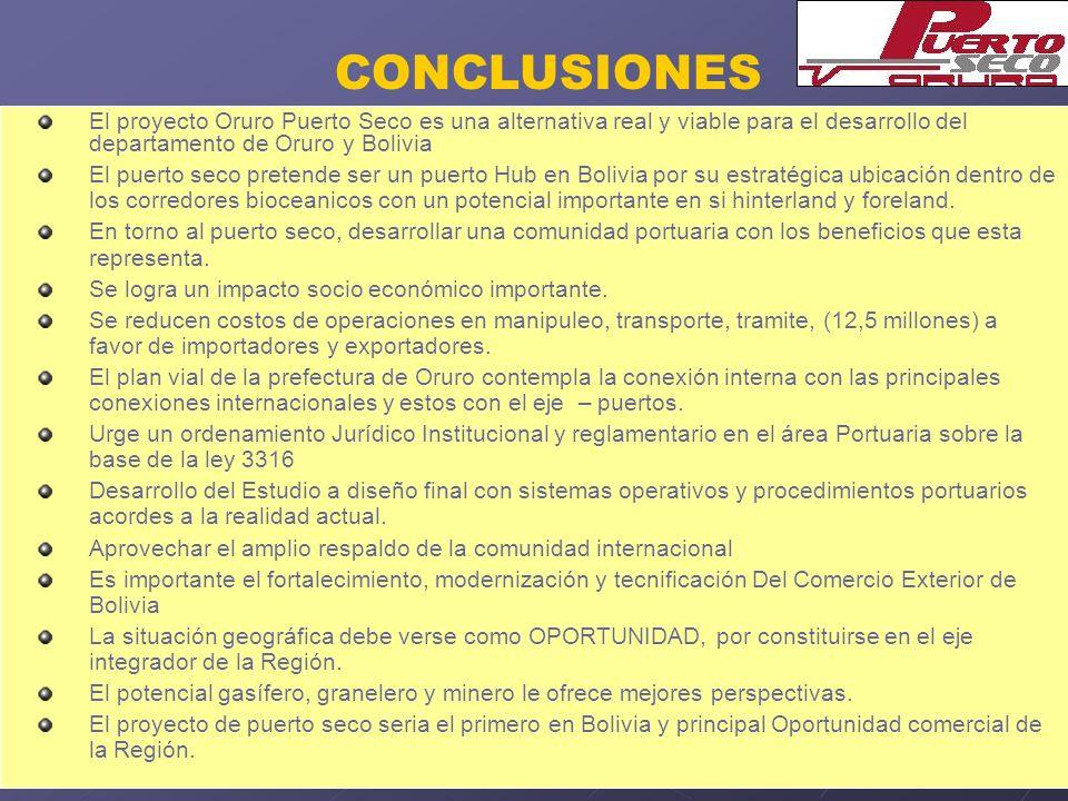 CONCLUSIONES El proyecto Oruro Puerto Seco es una alternativa real y viable para el desarrollo del departamento de Oruro y Bolivia.