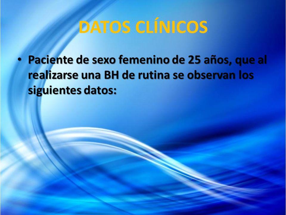 DATOS CLÍNICOS Paciente de sexo femenino de 25 años, que al realizarse una BH de rutina se observan los siguientes datos: