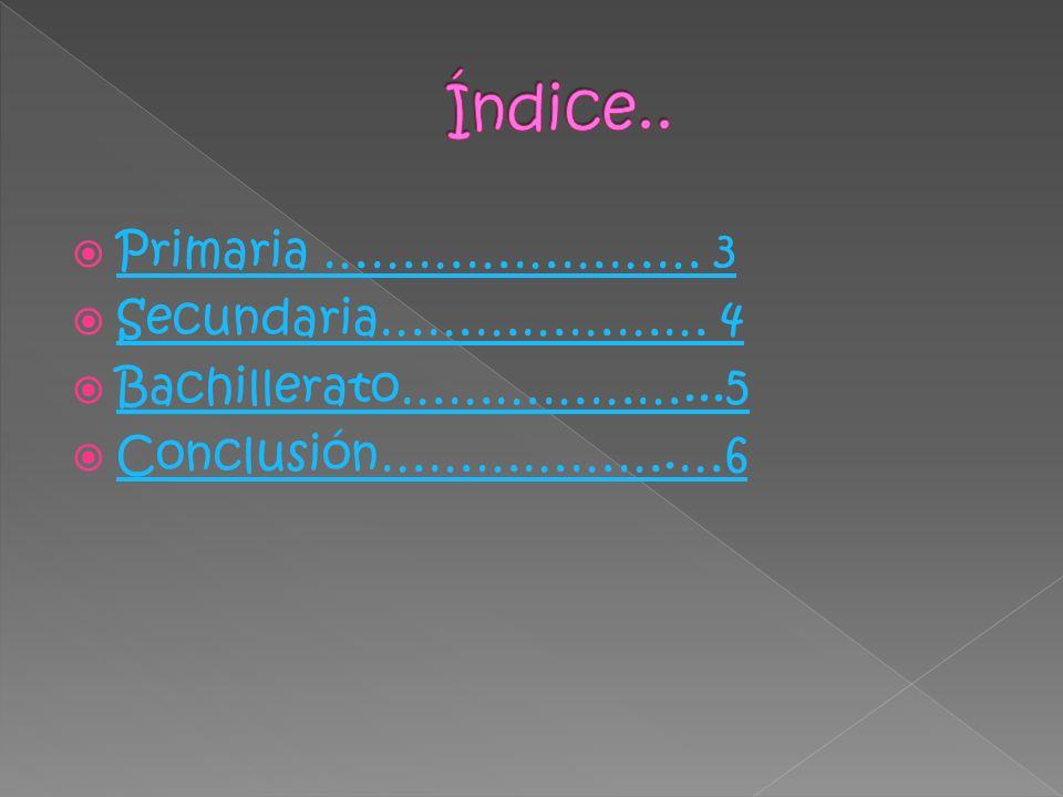 Índice.. Primaria …………………… 3 Secundaria………………… 4