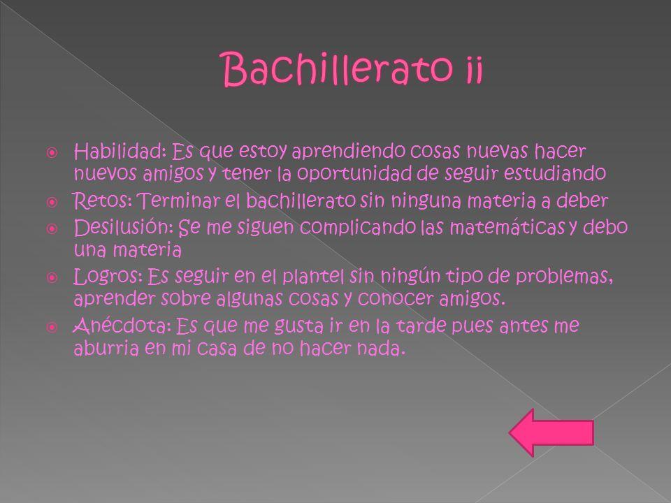 Bachillerato ¡¡ Habilidad: Es que estoy aprendiendo cosas nuevas hacer nuevos amigos y tener la oportunidad de seguir estudiando.