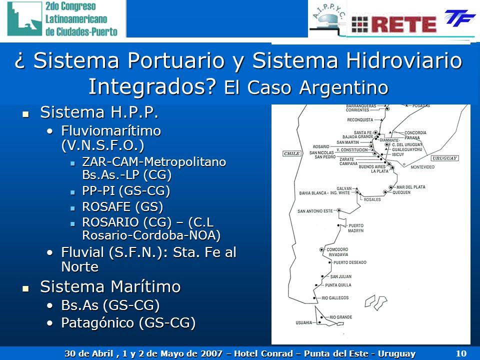 ¿ Sistema Portuario y Sistema Hidroviario Integrados El Caso Argentino