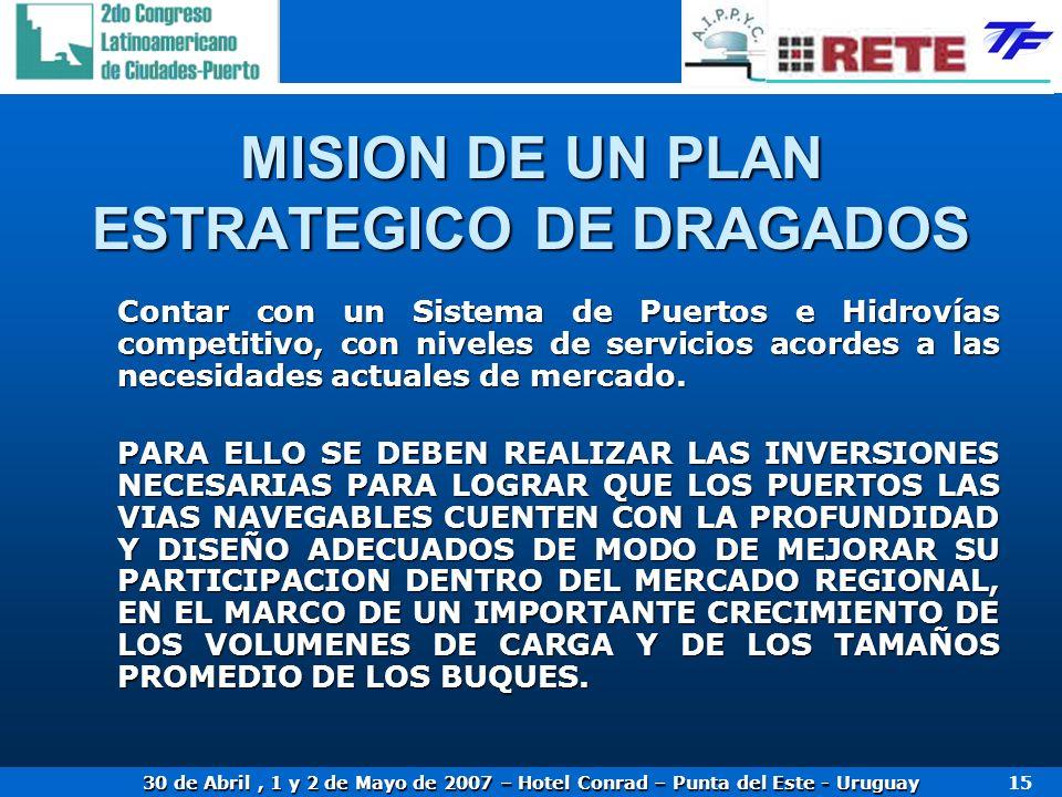 MISION DE UN PLAN ESTRATEGICO DE DRAGADOS