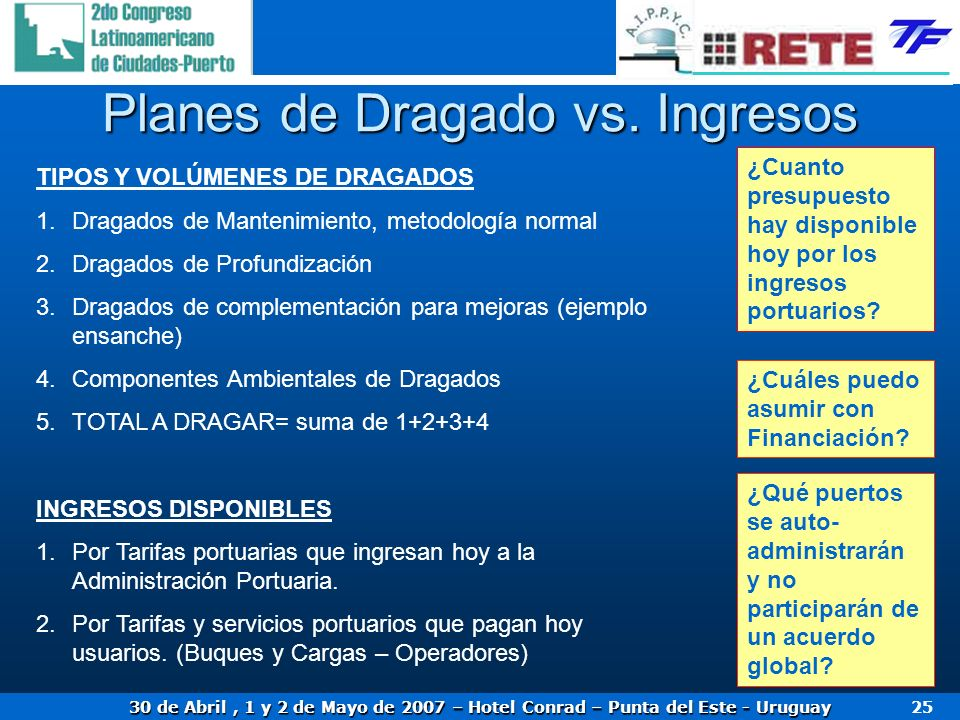 Planes de Dragado vs. Ingresos