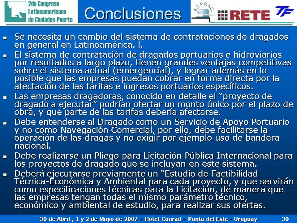 Conclusiones Se necesita un cambio del sistema de contrataciones de dragados en general en Latinoamérica. l.