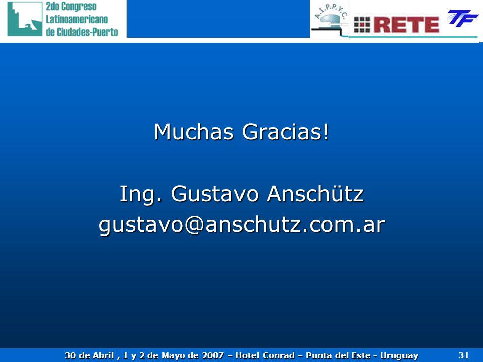 Muchas Gracias! Ing. Gustavo Anschütz gustavo@anschutz.com.ar
