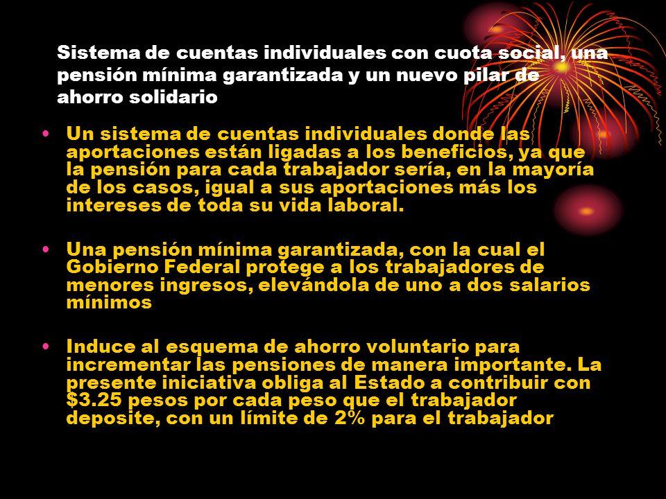 Sistema de cuentas individuales con cuota social, una pensión mínima garantizada y un nuevo pilar de ahorro solidario