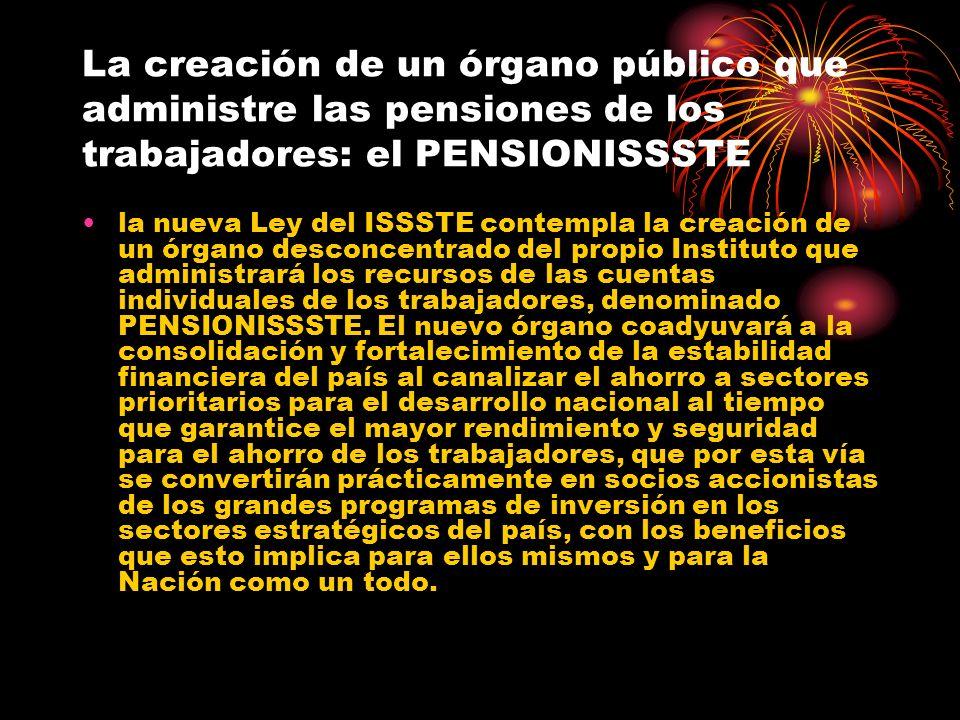 La creación de un órgano público que administre las pensiones de los trabajadores: el PENSIONISSSTE