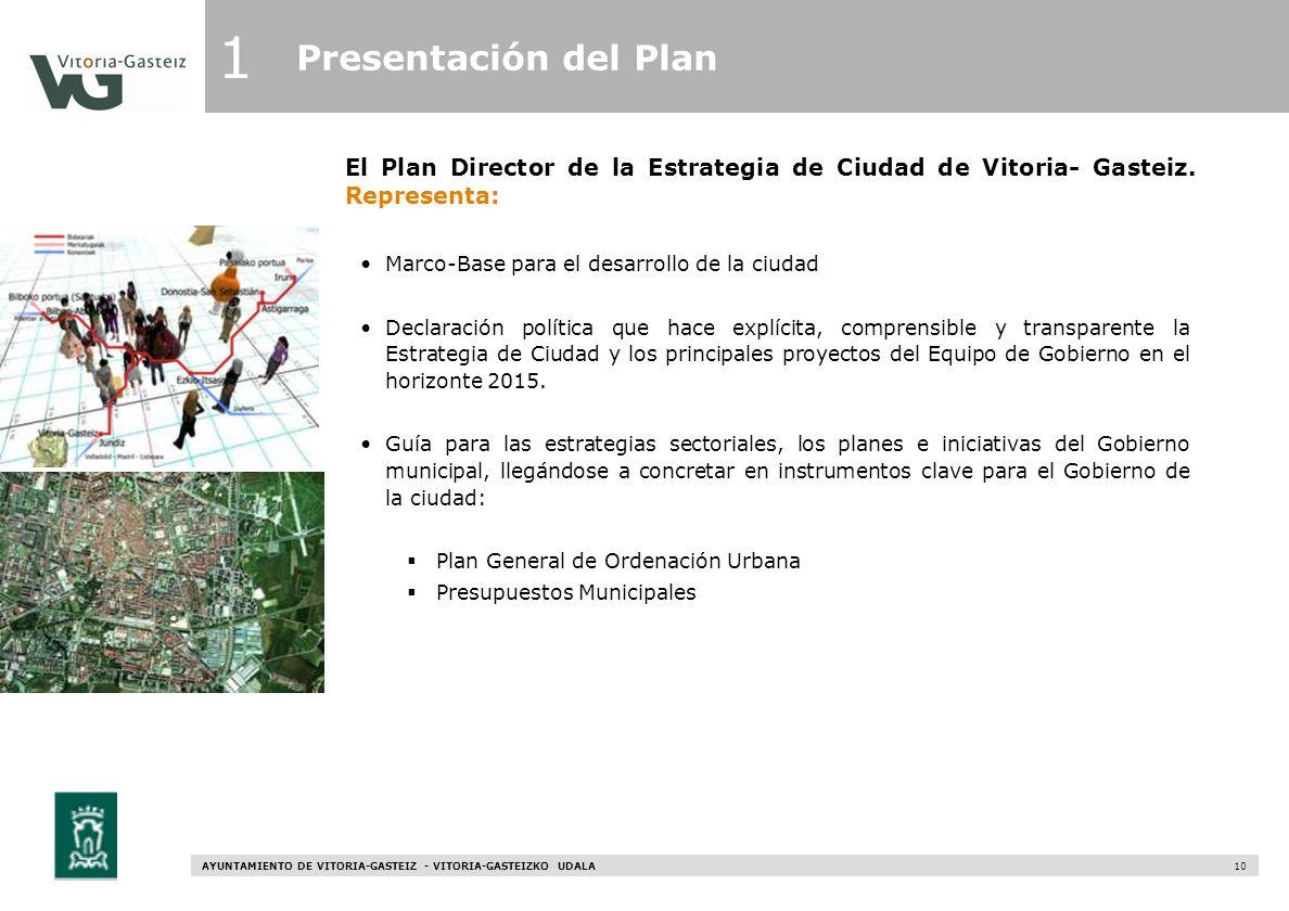 1Presentación del Plan. El Plan Director de la Estrategia de Ciudad de Vitoria- Gasteiz. Representa: