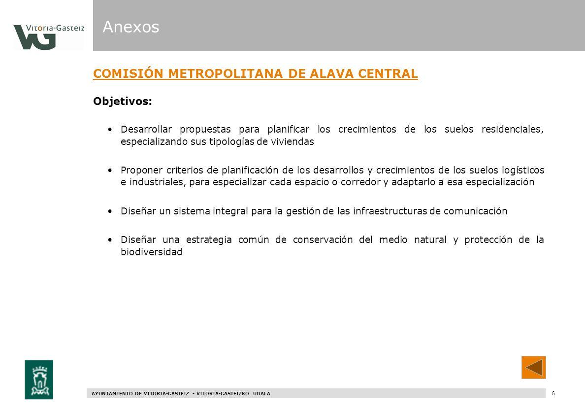Anexos COMISIÓN METROPOLITANA DE ALAVA CENTRAL Objetivos: