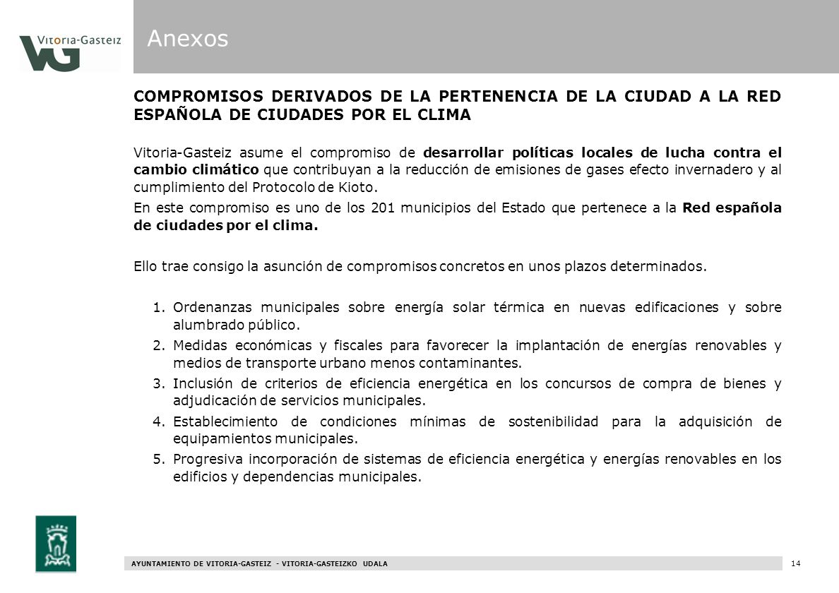 Anexos COMPROMISOS DERIVADOS DE LA PERTENENCIA DE LA CIUDAD A LA RED ESPAÑOLA DE CIUDADES POR EL CLIMA.