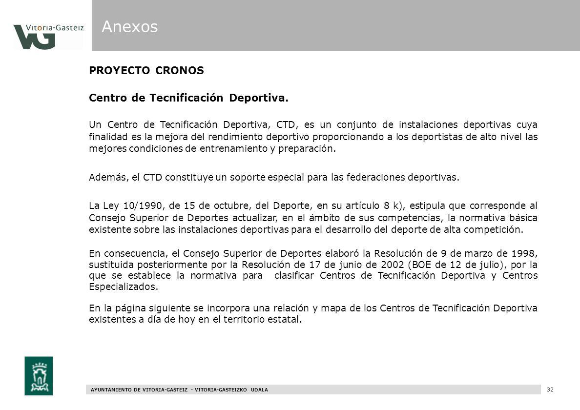 Anexos PROYECTO CRONOS Centro de Tecnificación Deportiva.