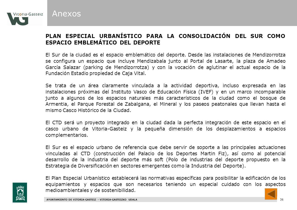 Anexos PLAN ESPECIAL URBANÍSTICO PARA LA CONSOLIDACIÓN DEL SUR COMO ESPACIO EMBLEMÁTICO DEL DEPORTE.