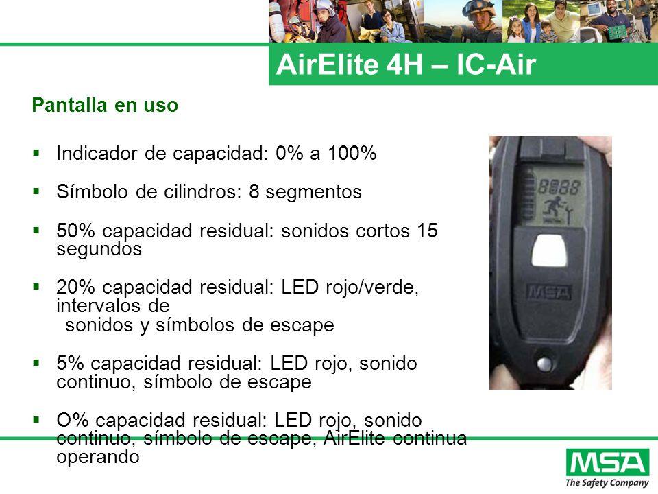 AirElite 4H – IC-Air Pantalla en uso Indicador de capacidad: 0% a 100%